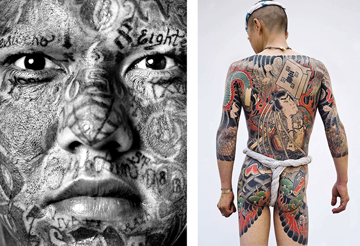 L: Maras portrait, 2006 © Serie Maras, 2006. Isabel Muñoz. R: Traditional Japanese tattoo © Photo: Tatttooinjapan.com / Martin Hladik.
