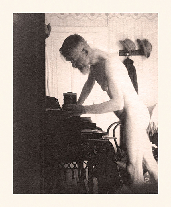 Nude self-portrait, setting up a camera George Bernard Shaw c. 1910